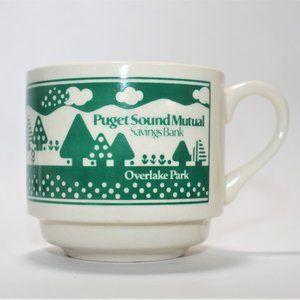 Set of PUGET SOUND Mutual Savings Bank Coffee Mugs